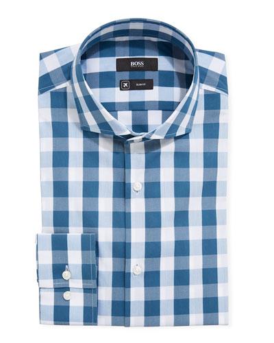 Men's Travel Check Pattern Dress Shirt