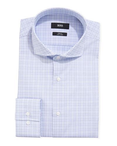 Men's Cotton Grid-Pattern Dress Shirt