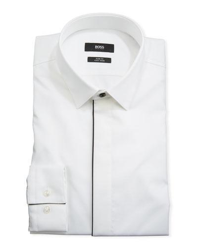 Men's Contrast-Trim Tuxedo Shirt