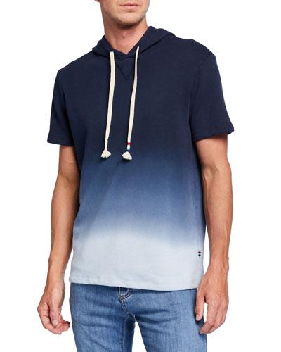 Men's Ombre Short-Sleeve Pullover Hoodie