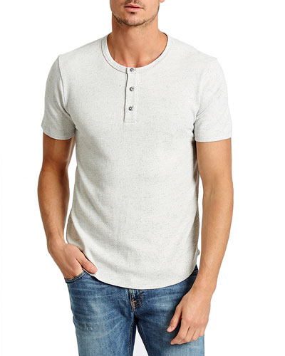 Men's Speckled Terry Cloth Henley Shirt