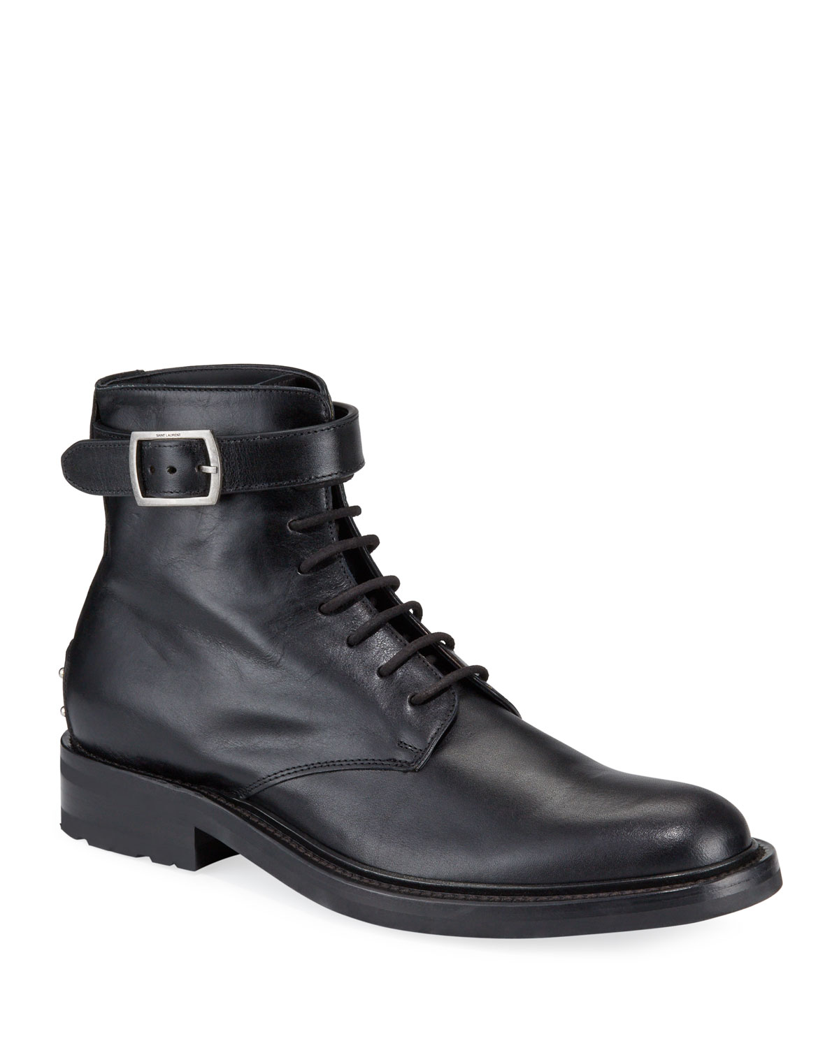 Men's Leather Studded-Heel Moto Boots
