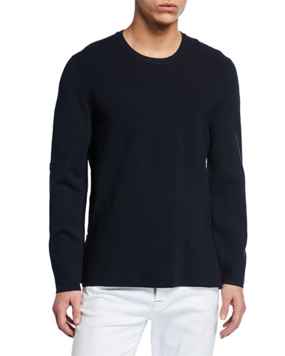 Crewneck Nylon-Patch Side-Zip Sweater