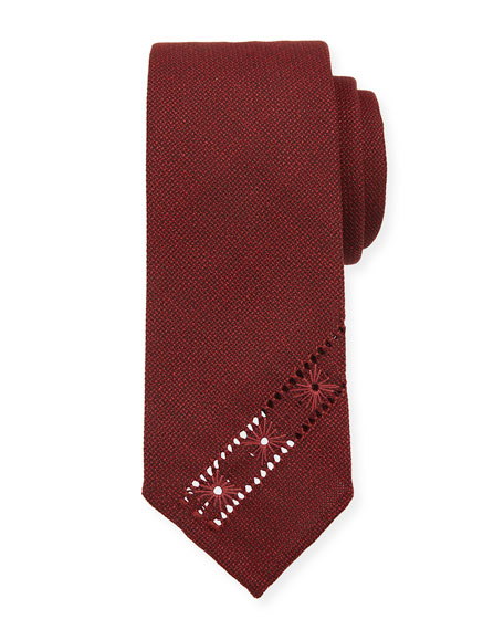 Tie Your Tie Hopsack Knit Tie w/ Diagonal Embroidery, Red