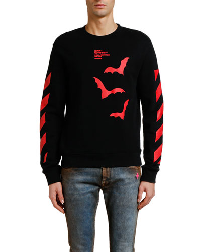 Men's Diagonal Bats Graphic Slim Long-Sleeve Crewneck Sweatshirt