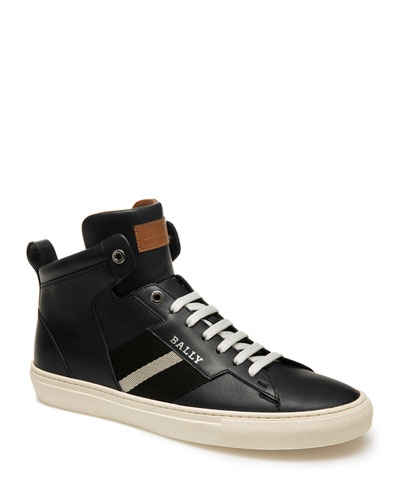 Men's Helvio Trainspotting Leather High-Top Sneakers