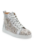 Christian Louboutin Men's Studded Metallic Leather High-Top