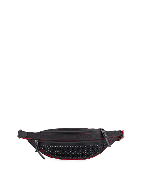Christian Louboutin Men's Paris NYC Spiked Belt Bag with Leather Trim