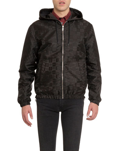 Men's Reversible 4G Jacquard Zip-Front Hooded Jacket