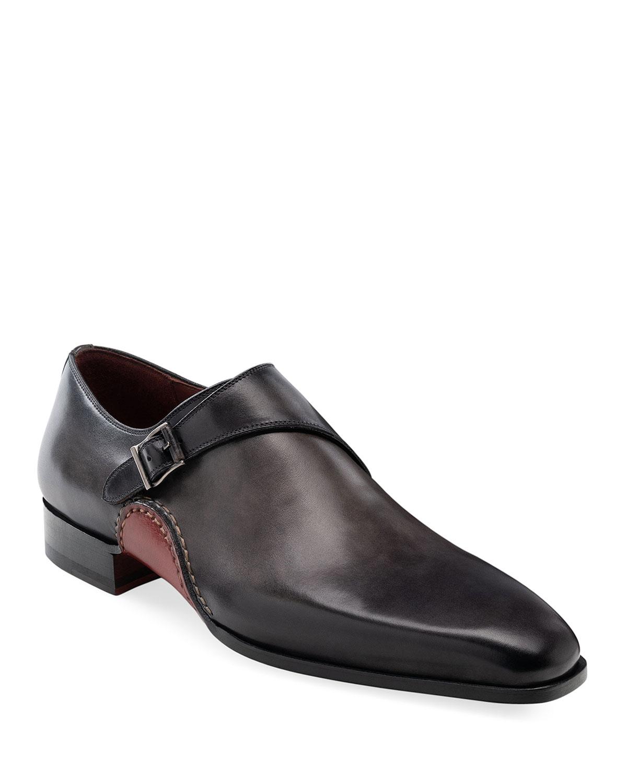 Magnanni Shoes MEN'S CARRERA SINGLE-MONK LEATHER SHOES
