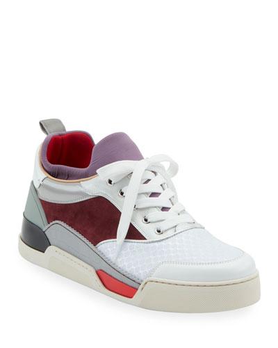 Men's Aurelien Colorblock Mixed-Media Trainer Sneakers