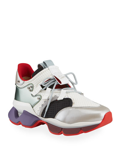 Men's Red-Runner Colorblock Spike Trainer Sneaker