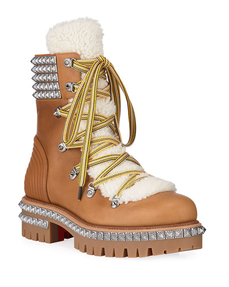 Christian Louboutin Men's Yeti Studded Leather Boots w/ Shearling