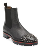 Christian Louboutin Men's Melon Spikes Pebbled Leather Chelsea