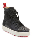 Christian Louboutin Men's Spike Leather Red Sole Trainer
