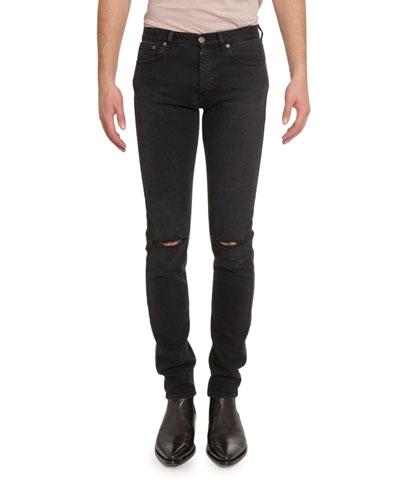 Men's Distressed Skinny Stretch-Denim Jeans, Black