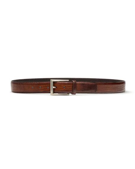 Magnanni Men's Lizard Silvertone-Buckle Belt, Cognac