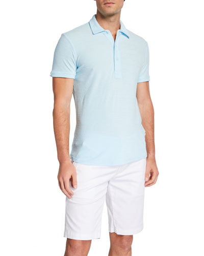 Men's Sebastian Toweling Solid Cotton Polo Shirt