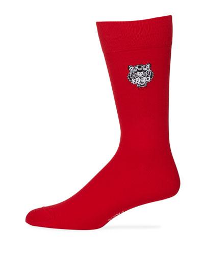 Men's Tiger-Embroidered Socks