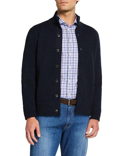 Men's Solid Merino Wool Cardigan Sweater
