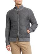 Neiman Marcus Men's Wool Front-Zip Sweater