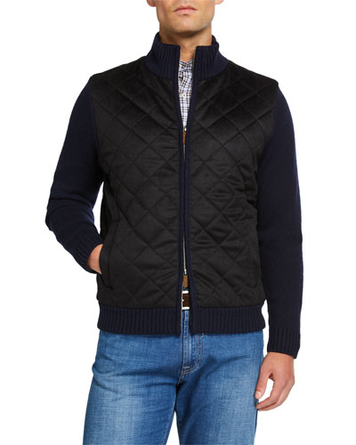 Men's Wool/Cashmere Diamond Quilted Full Zip Sweater