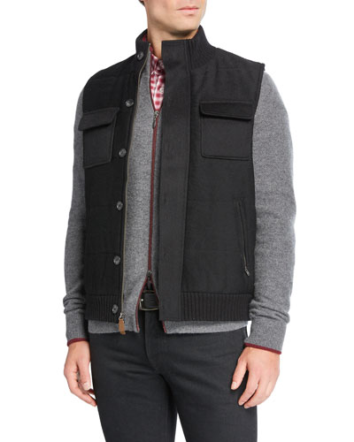 Men's Wool/Cashmere Zip-Front Vest