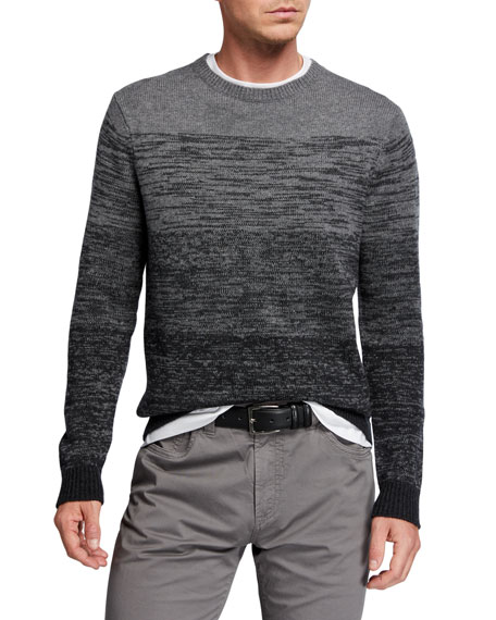 Neiman Marcus Men's 5-Panel Ombre Wool-Cashmere Sweater