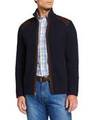 Neiman Marcus Men's Cashmere Zip Sweater with Suede