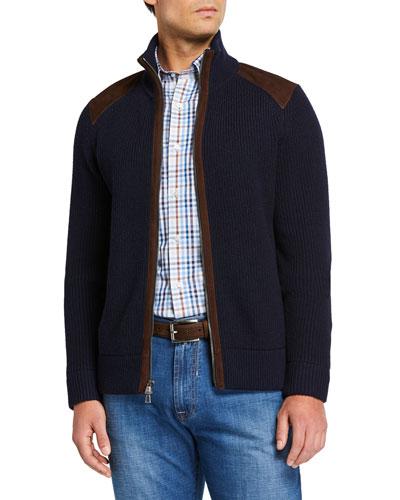 Men's Cashmere Zip Sweater with Suede Detail