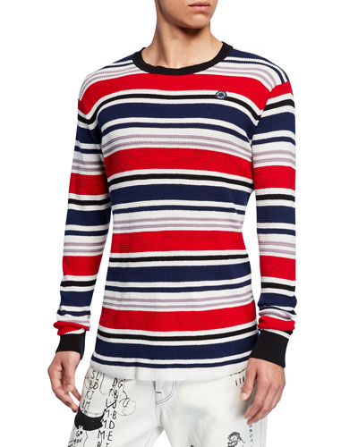 Men's 3D Waffle-Knit Long-Sleeve Striped T-Shirt