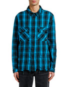 Marcelo Burlon Men's County Check Unfinished-Hem Sport Shirt