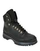 Prada Men's Lace-Up Leather Hiker Boots