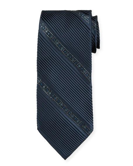 Stefano Ricci Crystal Pleated Silk Tie