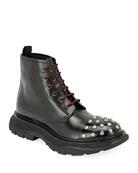Alexander McQueen Men's Studded Leather Combat Boots