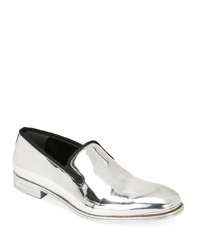 Men's Metallic Leather Slip-On Dress Shoes
