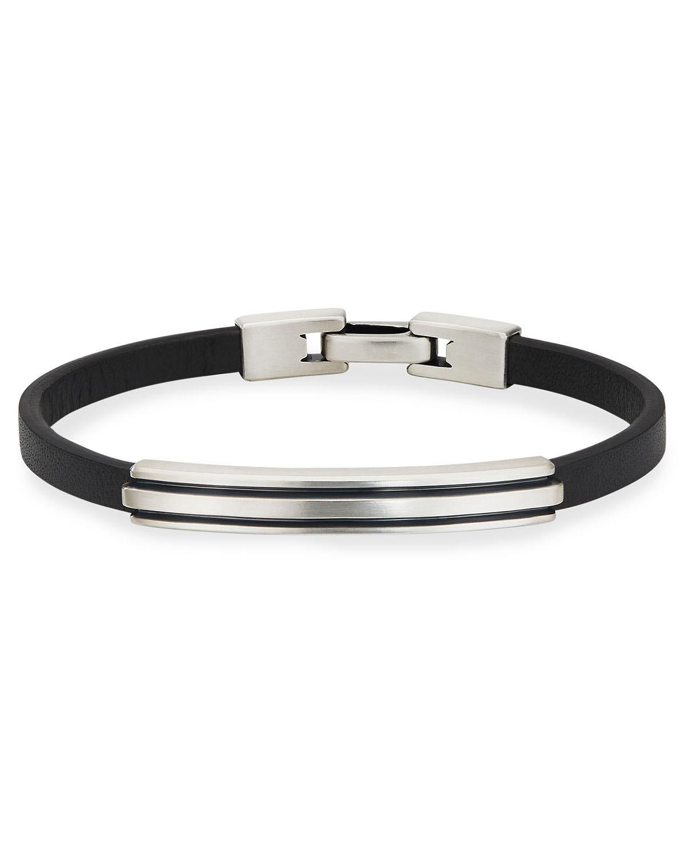 Men's Deco Leather/Silver ID Bracelet