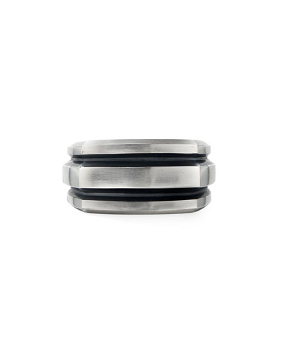Men's 13mm Deco Cigar Band Ring