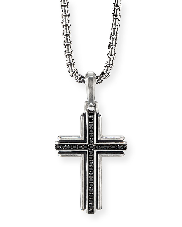 Men's Pave Black Diamond Silver Cross Enhancer