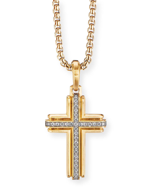 Men's 18K Gold Deco Diamond Cross Enhancer
