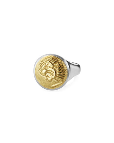 Men's Petrus Lion Coin Signet Ring