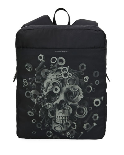 Men's Nylon Skull Harness Backpack