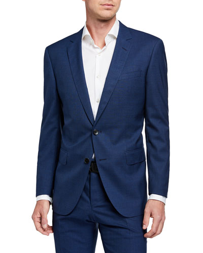 Men's Slim-Fit Micro-Pattern Two-Piece Wool Suit