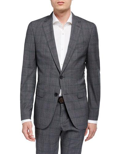 Men's Slim-Fit Plaid Two-Piece Wool Suit
