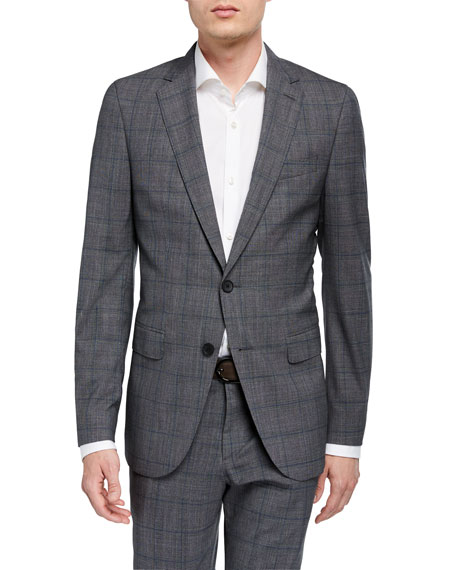 BOSS Men's Slim-Fit Plaid Two-Piece Wool Suit