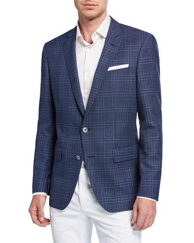 Men's Slim Fit Plaid Wool Sport Coat