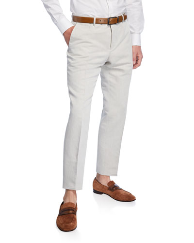Men's Linen-Cotton Slim Fit Dress Pants