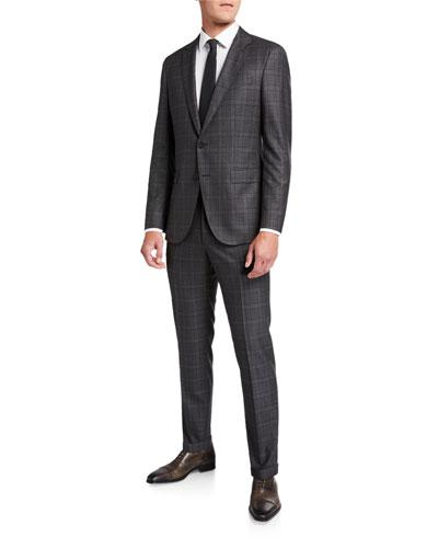 Men's Slim Fit Wool Check Two-Piece Suit