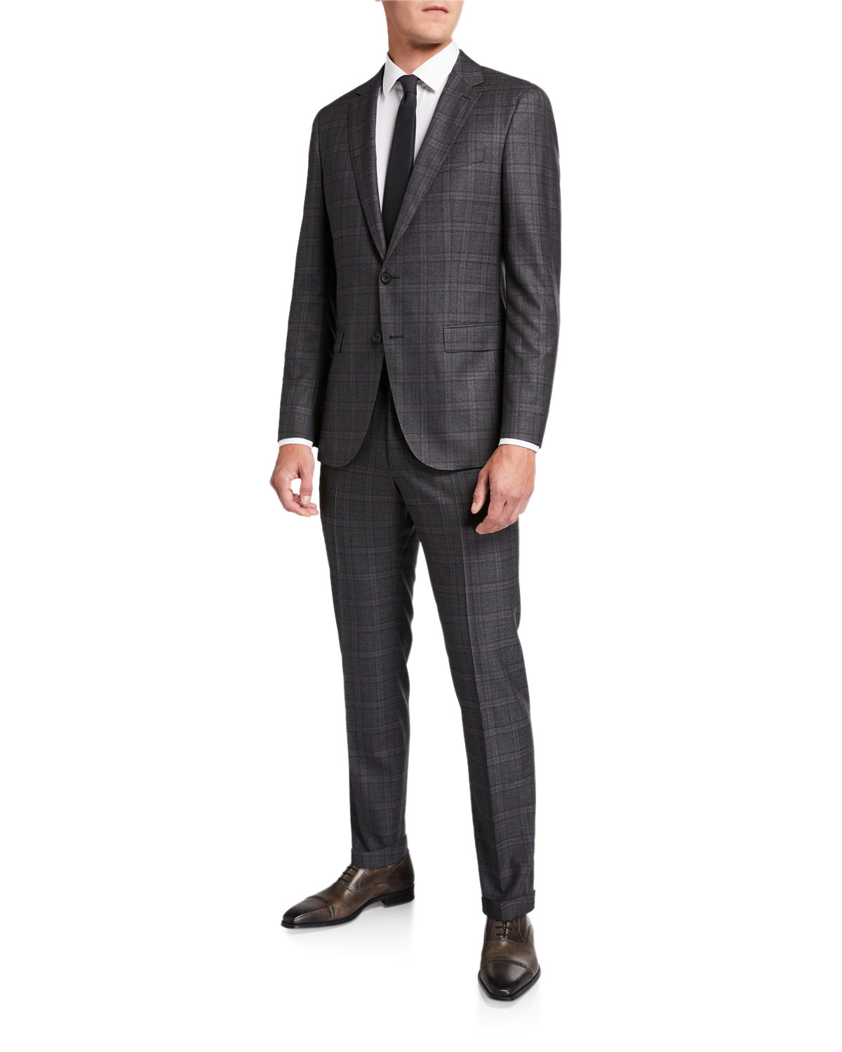 Boss Suits MEN'S SLIM FIT WOOL CHECK TWO-PIECE SUIT