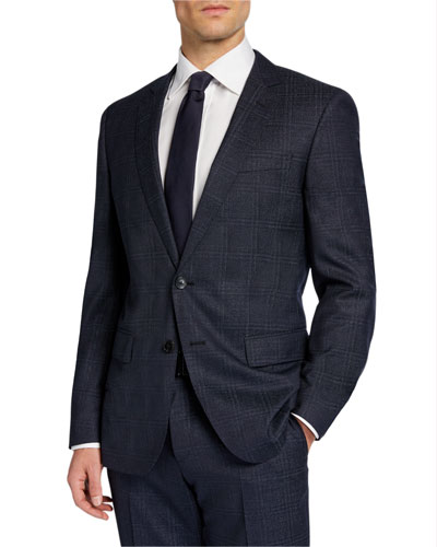 Men's Check Wool Two-Piece Suit with Cropped Trousers